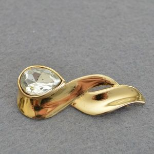 Vintage Rhinestone Gold Brooch/Pin - 1990's